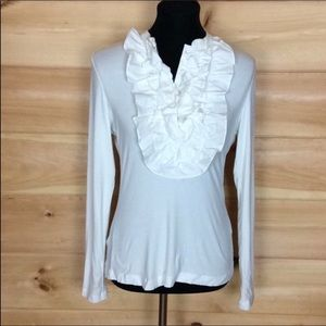 Nanette LePore white ruffle front blouse Small